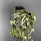 Black Diamond Wedding Sets 14k yellow gold modern engagement set ADLR424S