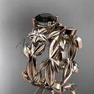 Black Diamond Wedding Sets 14k rose gold modern engagement set ADLR424S