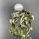Pearl Wedding Sets 14kt yellow gold modern Flower engagement ring set AP424S