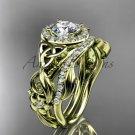 Celtic Wedding Ring Sets yellow Gold Diamond Celtic Trinity Knot Bridal Set CT7300S