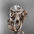 Celtic Wedding Ring Sets rose Gold Diamond Celtic Trinity Knot Bridal Set CT7300S