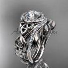 Celtic Wedding Ring Sets White Gold Charles & Colvard Forever One Moissanite Bridal Set CT7300S