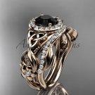 Black Diamond Celtic Wedding Ring Sets rose Gold Floral Bridal Set CT7300S
