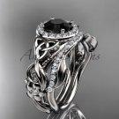 Black Diamond Celtic Wedding Ring Sets platinum Floral Bridal Set CT7300S