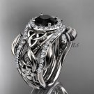 Black Diamond Ring for Women White Gold Diamond Celtic Trinity Knot wedding ring Set CT7300S