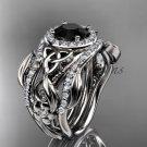 Black Diamond Ring for Women platinum Diamond Celtic Trinity Knot wedding ring Set CT7300S