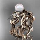 Pearl Wedding Sets 14kt rose gold modern Flower engagement ring set AP424S