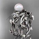 Pearl Wedding Sets platinum modern Flower engagement ring set AP424S