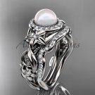Halo Diamond Engagement Rings platinum Unique Pearl Wedding Set AP300S
