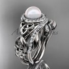 White Gold Pearl Halo Engagement Rings Triquetra Celtic Diamond Wedding Ring Set CTP7300S