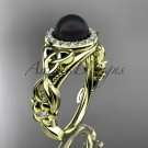 Black Pearl Diamond Rings Triquetra Celtic Diamond 14kt yellow Gold Halo Engagement Ring CTBP7300