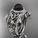 Black Pearl Double Band Halo Wedding Rings Platinum  Triquetra Celtic Bridal Ring Set CTBP7300S
