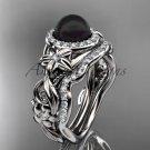Black Pearl & Halo Diamond Engagement Rings Platinum Unique Wedding Set ABP300S