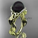 Black Pearl Engagement Rings yellow Gold Celtic Trinity Knot Leaf Pearl Engagement Ring CTBP7326