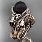 Black Pearl  rose Gold Celtic Trinity Knot Bridal Set, Leaf Diamond Engagement Ring CTBP7326S