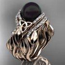 Leaf Diamond Black Pearl engagement ring set rose Gold Celtic Trinity Knot Wedding Set CTBP7326S