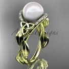 Diamond Engagement Rings yellow Gold Celtic Trinity Knot, Leaf Pearl Engagement Ring CTP7326