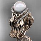 Diamond Bridal Set rose Gold Celtic Trinity Knot Wedding Set, Leaf Pearl Engagement Ring CTP7326S