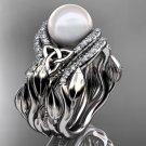 Leaf Diamond Pearl engagement ring set Platinum Celtic Trinity Knot Wedding Set CTP7326S