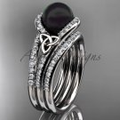 Black Cultured Pearl Celtic  Engagement Ring White Gold Diamond Irish Trinity Knot CTBP7317S