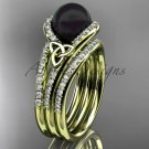 Black Cultured Pearl Celtic  Engagement Ring Yellow Gold Diamond Irish Trinity Knot CTBP7317S