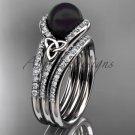 Black Cultured Pearl Celtic  Engagement Ring Platinum Diamond Irish Trinity Knot CTBP7317S