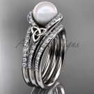 Pearl Celtic Double Band Engagement Ring White Gold Diamond Irish Trinity Knot Wedding Ring CTP7317S