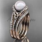 Pearl Celtic Double Band Engagement Rose Gold Diamond Irish Trinity Knot  CTP7317S