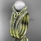 Pearl Celtic Double Band Engagement Yellow Gold Diamond Irish Trinity Knot  CTP7317S
