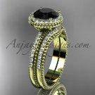 Vintage halo engagement rings Black Diamond center stone 14k yellow gold diamond wedding set ADER95S