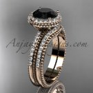 Vintage halo engagement rings Black Diamond center stone 14k rose gold diamond wedding set ADER95S