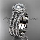 Double band engagement ring 14kt white gold diamond unique vintage halo wedding set ADER95S