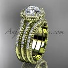 Double band engagement ring 14kt yellow gold diamond unique vintage halo wedding set ADER95S