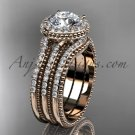 Double band engagement ring 14kt rose gold diamond unique vintage halo wedding set ADER95S