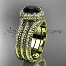 Double band engagement ring, Black Diamond, 14k yellow gold vintage diamond halo wedding set ADER95S