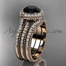 Double band engagement ring, Black Diamond, 14k rose gold vintage diamond halo wedding set ADER95S
