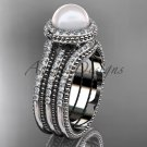 Pearl diamond wedding sets 14kt white gold awesome halo engagement ring AP95S