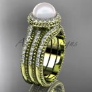 Pearl diamond wedding sets 14kt yellow gold awesome halo engagement ring AP95S