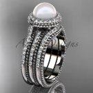 Pearl diamond wedding sets platinum awesome halo engagement ring AP95S