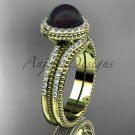 Awesome Black pearl wedding set 14kt yellow gold diamond halo engagement ring ABP95S