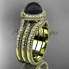 Black pearl diamond wedding sets 14kt yellow gold awesome halo engagement ring ABP95S