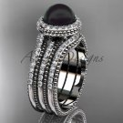 Black pearl diamond wedding sets Platinum awesome halo engagement ring ABP95S