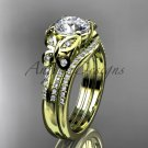 Moissanite Butterfly 14kt ring yellow gold diamond unique wedding ring set ADLR514S