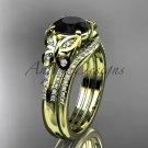 Black Diamond Butterfly ring 14kt yellow gold diamond unique wedding ring set ADLR514S
