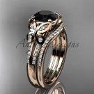 Black Diamond Butterfly ring 14kt rose gold diamond unique wedding ring set ADLR514S