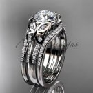 Double rings wedding set platinum diamond butterfly engagement ring ADLR514S