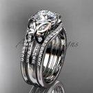 Double rings wedding set 14kt white gold Moissanite butterfly engagement ring ADLR514S