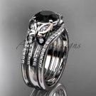 Double rings wedding set 14kt white gold Black Diamond butterfly engagement ring ADLR514S