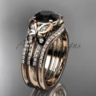 Double rings wedding set 14kt rose gold Black Diamond butterfly engagement ring ADLR514S