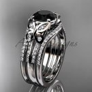 Double rings wedding set platinum Black Diamond butterfly engagement ring ADLR514S